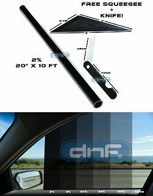 "DNF 2 PLY Carbon 2% 20"" x 10 Feet Window Tint Film- LIFETIME WARRANTY GUARANTEE!"