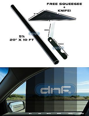 "DNF 2 PLY Carbon 5% 20"" x 10 Feet Window Tint Film- LIFETIME WARRANTY GUARANTEE!"