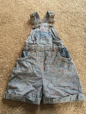 Next 3-4 Girls Dungarees  Stripy With Faded Flowers