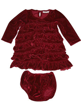 Pre Owned Camilla Baby Girls Velvet Red Holiday Tiered Ruffled Trim Dress 12 M