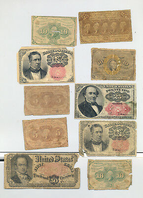 A group lot of ten circulated fractional banknotes - four denominations