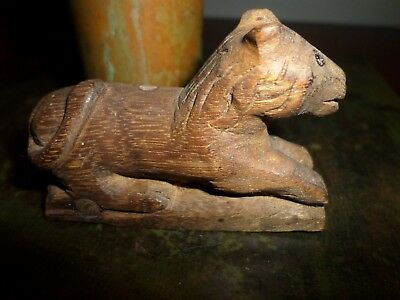 Antique 19th Century Folk Art Carved Lion Pennsylvania Primitive Miniature NR