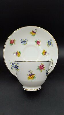 Vintage Crown Staffordshire Floral Tea Cup Saucer Fine Bone China England