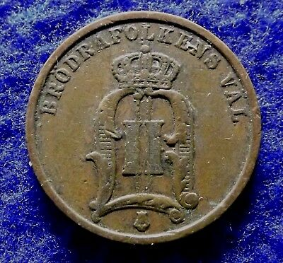 SWEDEN 2 Ore 1900, Key Date Bronze Coin, Scarce Oval 00 Variety, KM#746 (#1422)