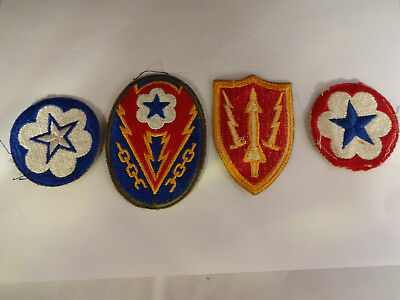 Vintage Lot of 4 Original WWar II WW2 Uniform Patches Europe Theater Others
