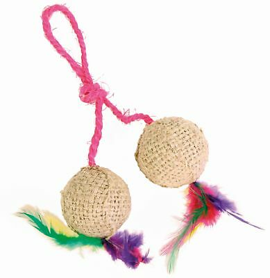 trixie 2 Jute Balls on Rope with Feathers & Catnip chat jouet