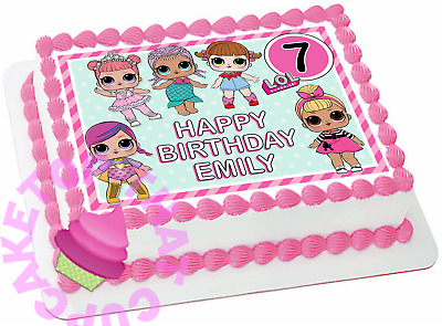 LOL Dolls premium edible rectangle/square cake topper birthday images #216