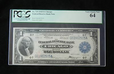1918 Fr. 729 $1 PCGS 64 VC New Chicago United States Federal Reserve Note 24-11
