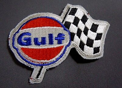 """GULF Fuel - Checker Flag Embroidered Iron On Uniform-Jacket Patch 3 1/2"""""""""""