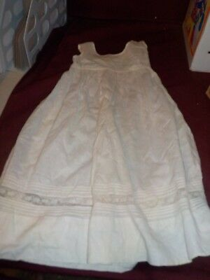 Antique Baby Christening Gown Slip- Lace Accent Offwhite