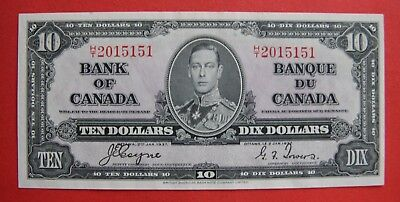 ✪ 1937 $10 Bank of Canada Coyne-Towers H/T 2015151 - 79.95 AU Pressed