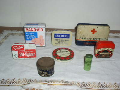 Lot of 8 Vintage Advertising Tins Medical, Lighter & Tape etc