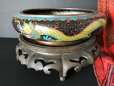 Old Chinese Copper Cloisonné Bowl on Ornate Carved Wooden Stand…