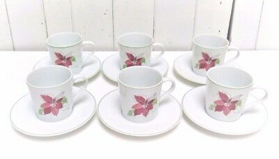 6 Block Spal POINSETTIA DEMITASSE CUPS & SAUCERS Watercolors Portugal Holiday