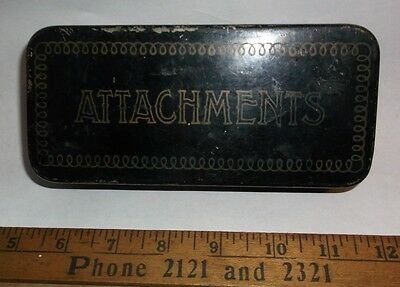 """Antique Sewing Machine metal """"Attachments"""" Box with Accessaries"""