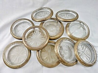 Vintage Frank M Whiting Sterling Rimmed Pressed Glass Coaster Ashtray Lot of 10