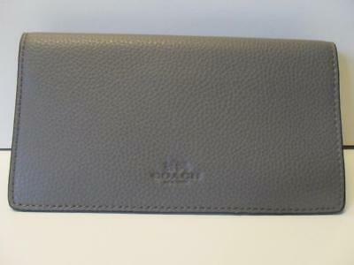 New Coach Pebbled Leather Checkbook Cover with Embossed Logo Heather Grey Gray