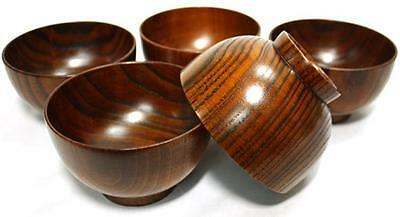 Japanese antique style wooden bowls set lot of 5 lacquered Urushi Natural wood