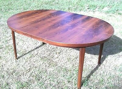 Mid Century Modern Tapered Leg Rosewood Dining Table With 2 Extra Leaves