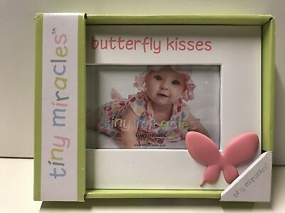 Butterfly Kisses Tiny Miracles Photo Frame 4x6 inch Baby Girl Gift New