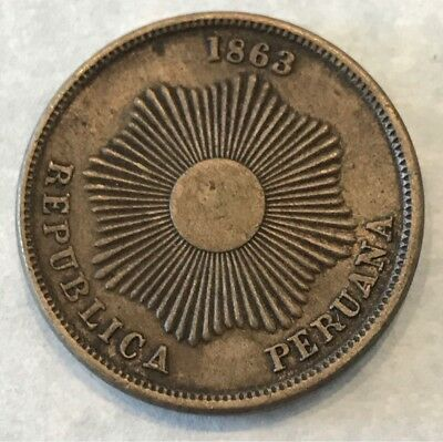 Peru 2 Centavos Bronze 1863 Km-188.1 Nice Details And A 2 Years Type Only Scarce