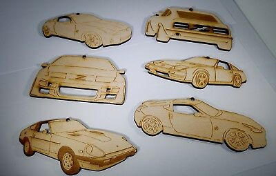 Laser-cut ornaments for the Nissan/Datsun sports car enthusiasts