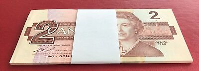 Canada 1986 $2 1/4 Bundle 25 Consecutive Notes / In Sequence UNC