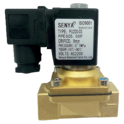 "AC 220V Electric Solenoid Valve Switch Water Air G1/2"" Brass Normally Closed N/C"