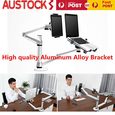 360º Rotate Dual Arms Laptop Combination Bracket Aluminum For iPad Air Mini