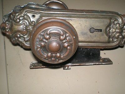 Antique Stamped cast iron Victorian Back plates & matching Door Knobs  2 each