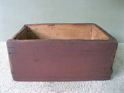 Antique Shipping Box, Shadow Box, Vintage Primitive Wood, Old Red Paint, Clean
