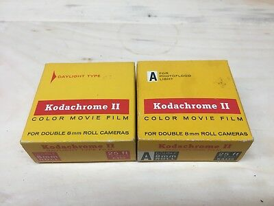 2 Packs Kodachrome II Double 8 Color Movie Film Type A / Daylight - 1971