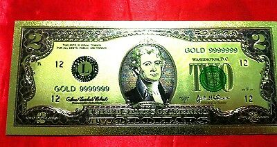 Banknote Usa America $2 Gold Color Coloured Dollar Bill 24Kt Collectable