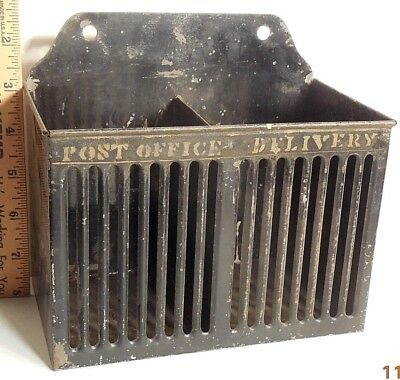 Vintage Antique Tin Mail Box In Out Old Office Wall Mount Or Desk Accessory Nr