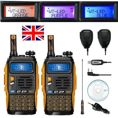 UK 2x Baofeng GT-3TP 8W VHF UHF Walkie Talkie Transceiver + 2x Speaker + Cable
