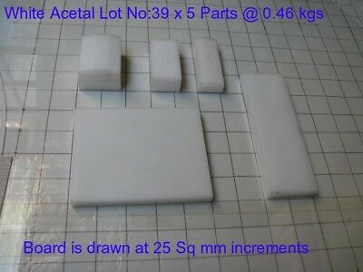 White Acetal Assorted Lot No: 39 x 5 parts -Engineering, Bush, Bearings and Gear