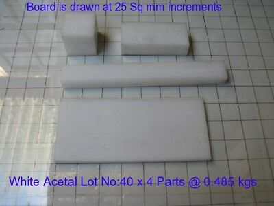 White Acetal Assorted Lot No: 40 x 4 parts -Engineering, Bush, Bearings and Gear