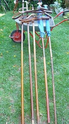 5 vintage Guides Marching Poles + brass finials/ferrules 2 flags, 4 pole holders