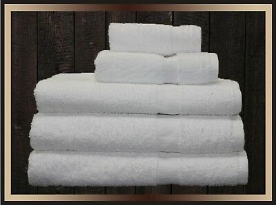 3 new cotton blend 22x44 white hotel crown bath towels hotel spa resort ir*
