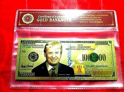 Donald Trump $1Million Banknote Us Color 24Kt Gold America Dollar Novelty Note