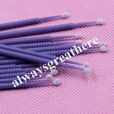 100pc Dental Disposable Micro Applicator Brush Stick Bendable Purple Large