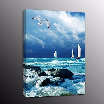 Canvas Prints Painting Picture Blue Sky ocean Wall Art Home Decor Bird Sailboat