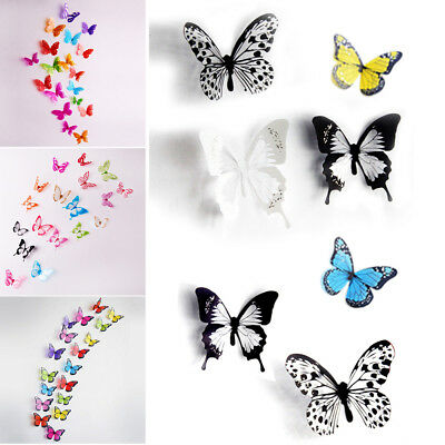 12/24 Pcs(1/2 Sets) 3D Butterfly Wall Stickers & Magnetic Decals Home Room Decor