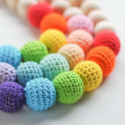 Wooden Round Crocheted Beads Colorful Woolen Teether Bead Toy Necklace Gift