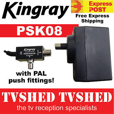 Kingray PSK08 17.5VAC Power Supply with PAL Injector for Masthead Amplifier
