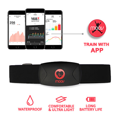 HIIT Heart Rate Monitor-Moov HR Burn-Bluetooth Chest Strap-Fitness Running Cycle
