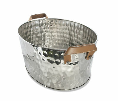 Stainless Steel Hammered Punch Bowl Bucket Champagne Wine Cooler Container Ice
