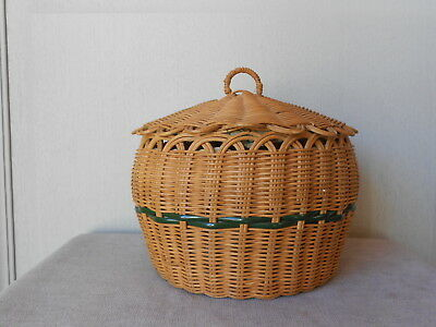 Vintage French Wicker Hand made sewing Basket  Charming