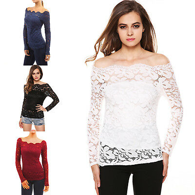 Womens Casual Off shoulder Lace Slim T-Shirt Top Ladies Long Sleeve Tops  Shirt