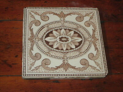 Vintage English Victorian  Tile Printed Flower Design
